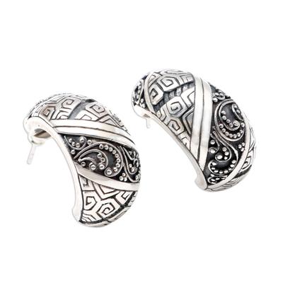 Sterling silver drop earrings, 'Go Slowly' - Handmade Sterling Silver Drop Earrings