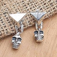 Sterling silver dangle earrings, 'Burning Skull' - Handmade Sterling Silver Skull Dangle Earrings