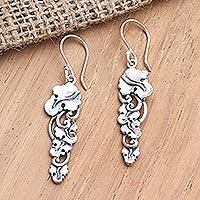 Sterling silver dangle earrings, 'Flourishing Banana Leaves'