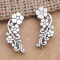 Sterling silver ear climber, 'Climbing Garden' - Sterling Silver Floral Climber Earrings