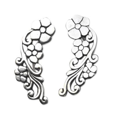 Sterling silver ear climber, 'Climbing Garden' - Sterling Silver Floral Climber Earrings