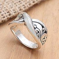 Sterling silver band ring, 'Infinity Twist' - Artisan Made Sterling Silver Band Ring
