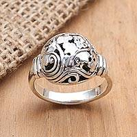 Sterling silver cocktail ring, 'Traditional Leaves' - Artisan Crafted Sterling Silver Cocktail Ring