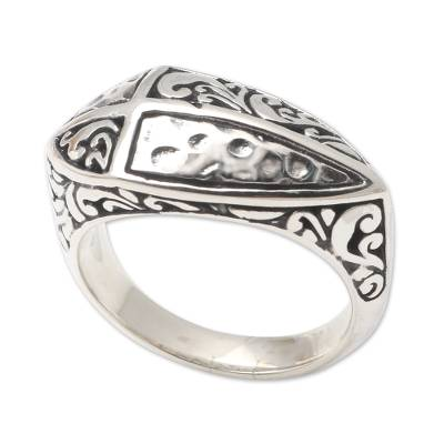 Sterling silver cocktail ring, 'Redemption Cross' - Handcrafted Sterling Silver Cocktail Ring