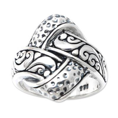 Sterling silver cocktail ring, 'Woven Illusion' - Artisan Crafted Sterling Silver Cocktail Ring