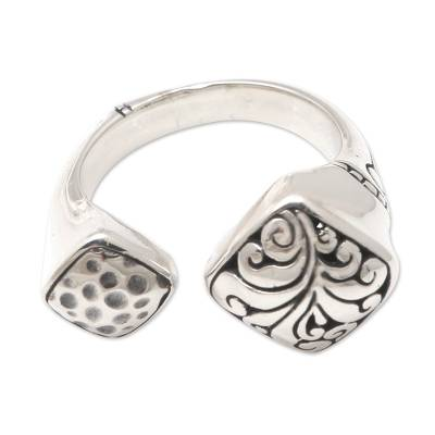 Sterling silver wrap ring, 'Missed Connection' - Hand Crafted Sterling Silver Wrap Ring