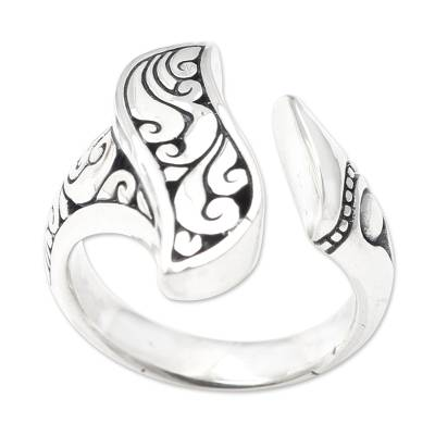Sterling silver wrap ring, 'Winter Herbs' - Handmade Sterling Silver Wrap Ring