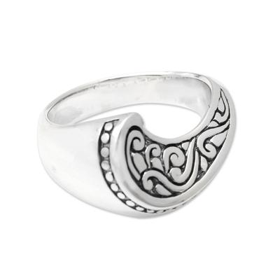 Sterling silver cocktail ring, 'Waving' - Artisan Made Sterling Silver Cocktail Ring