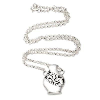 Sterling silver pendant necklace, 'Amphora' - Unisex Sterling Silver Water Jug Pendant Necklace