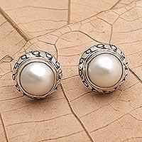 Cultured pearl button earrings, 'Great Women' - Cultured Pearl and Sterling Silver Button Earrings