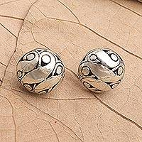 Sterling silver button earrings, 'Simply Woman' - Hand Crafted Sterling Silver Button Earrings