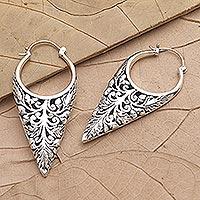 Sterling silver half-hoop earrings, 'Balinese Temple' - Handmade Sterling Silver Half-Hoop Earrings