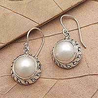 Cultured pearl earrings, 'White Sea' - Cultured Pearl and Sterling Silver Dangle Earrings