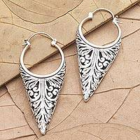 Sterling silver hoop earrings, 'Let's See Bali' - Sterling Silver Balinese Hoop Earrings