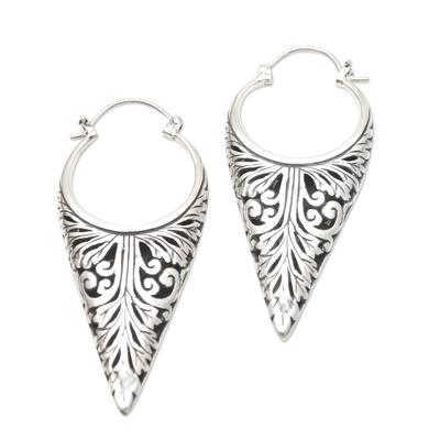 Sterling silver hoop earrings, 'Let's See Bali' - Sterling Silver Balinese Hoop Earrings