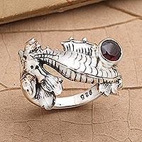 Garnet single stone ring, 'Seahorse Treasure' - Garnet and Sterling Silver Seahorse Ring