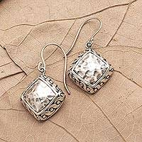 Sterling silver dangle earrings, 'Effortless Style' - Hammered Finish Sterling Silver Dangle Earrings
