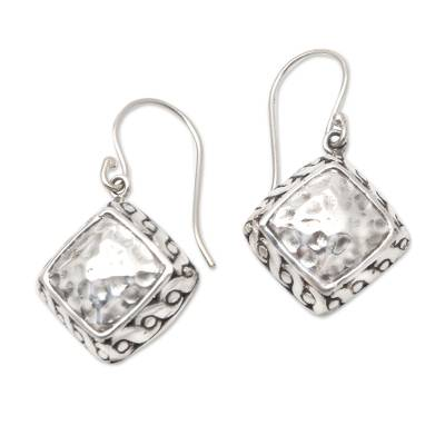 Sterling silver dangle earrings, 'Effortless Style' - Hammered Finish Sterling Silver Dangle Earrings