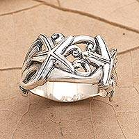 Sterling silver band ring, 'You're a Star' - Sterling Silver Starfish Band Ring