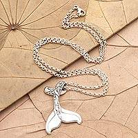 Sterling silver pendant necklace, 'Swim Away' - Sterling Silver Whale Tail Pendant Necklace