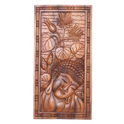 Handmade Suar Wood Buddha Relief Panel