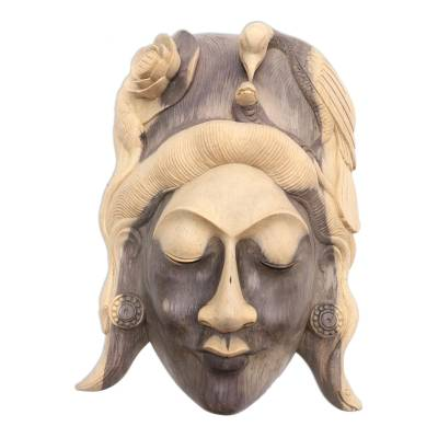 Wood mask, 'Lady of the Jungle' - Hand Carved Hibiscus Wood Mask