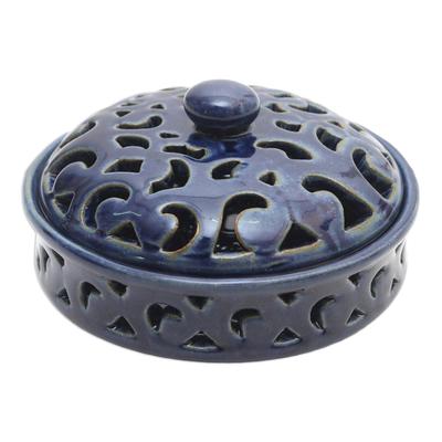 Blue Ceramic Mosquito Coil Holder