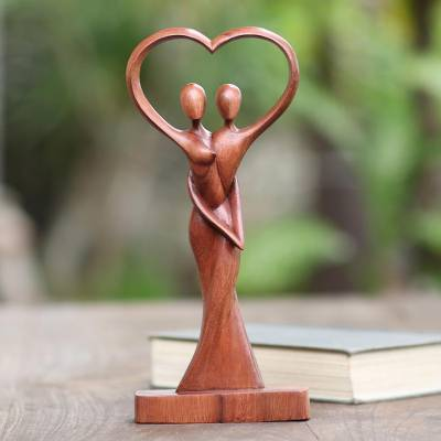 Wood statuette, 'Falling in Love' - Hand Crafted Romantic Suar Wood Sculpture