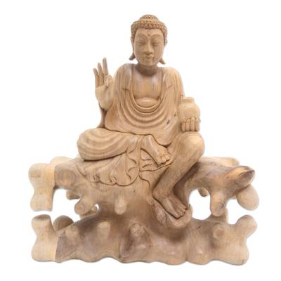 Hand Carved Hibiscus Wood Buddha Sculpture