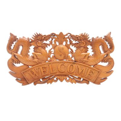 Dragon-Themed Suar Wood Wall Sign