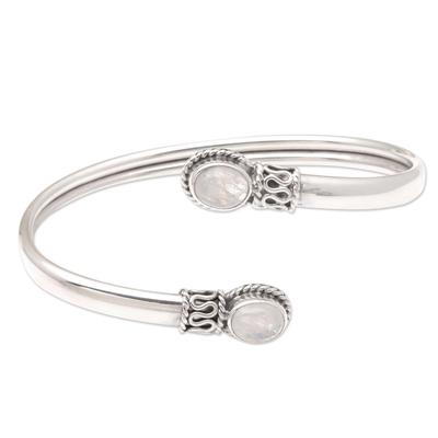 Rainbow moonstone cuff bracelet, 'Moon Style' - Rainbow Moonstone and Sterling Silver Cuff Bracelet