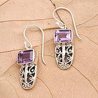Amethyst dangle earrings, 'Sweet Flavor' - Amethyst and Sterling Silver Dangle Earrings