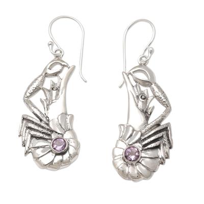 Amethyst dangle earrings, 'Queen Lobster' - Amethyst Lobster Dangle Earrings