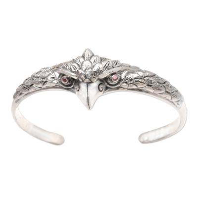 Amethyst cuff bracelet, 'All Knowing' - Amethyst and Sterling Silver Owl Cuff Bracelet