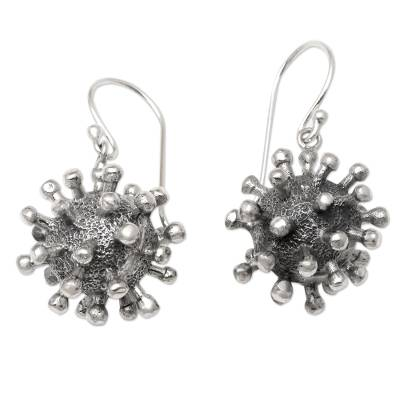 Sterling silver dangle earrings, 'Invisible' - Sterling Silver Coronavirus Dangle Earrings