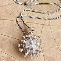 Sterling silver pendant necklace, 'Invisible'