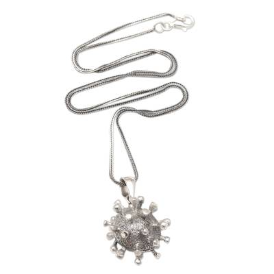 Sterling silver pendant necklace, 'Invisible' - Sterling Silver Coronavirus Pendant Necklace