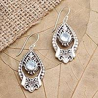 Blue topaz dangle earrings, 'Ice Garden' - Blue Topaz and Sterling Silver Dangle Earrings