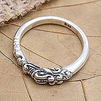Sterling silver band ring, 'River Dragon' - Hand Crafted Sterling Silver Band Ring