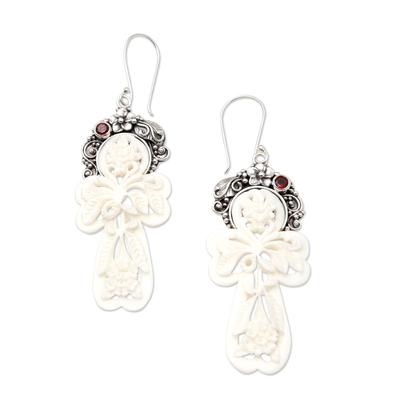 Garnet dangle earrings, 'Frangipani Summer' - Garnet and Bone Floral Dangle Earrings