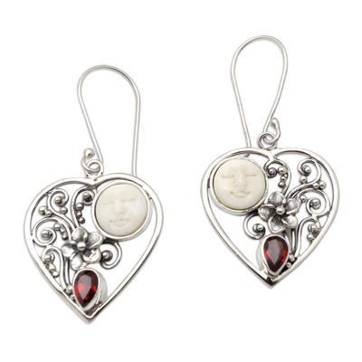 Garnet dangle earrings, 'Moon Love' - Garnet Moon and Heart-Themed Dangle Earrings