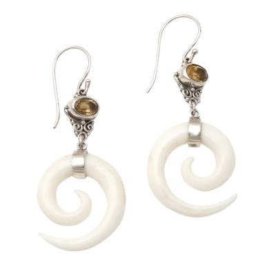 Citrine dangle earrings, 'Pale Spiral' - Citrine and Sterling Silver Dangle Earrings