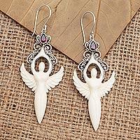 Garnet dangle earrings, 'Twin Angels' - Garnet and Sterling Silver Angel Dangle Earrings