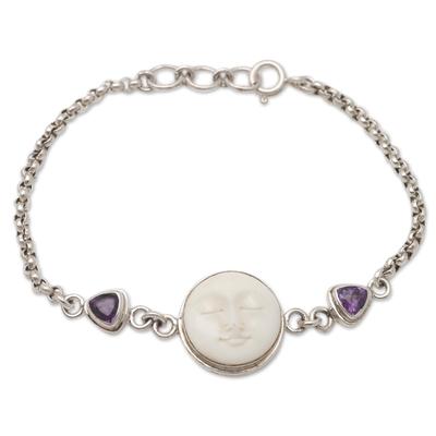Amethyst link bracelet, 'Purple Moonlight' - Amethyst and Sterling Silver Moon Bracelet
