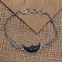 Garnet link bracelet, 'Midnight Crescent' - Amethyst and Bone Crescent Moon Link Bracelet