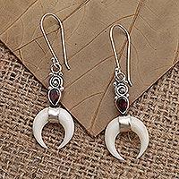 Garnet dangle earrings, 'Blood Red Moon' - Hand Made Bone and Garnet Dangle Earrings