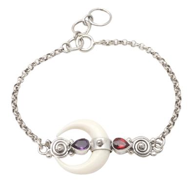 Garnet and amethyst link bracelet, 'Strong Moonlight' - Hand Made Garnet and Amethyst Link Bracelet