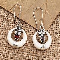 Garnet dangle earrings, 'Bright Crescent' - Handmade Garnet and Sterling Silver Dangle Earrings