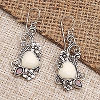 Garnet dangle earrings, 'Love Grows Strong' - Garnet and Bone Heart-Shaped Dangle Earrings