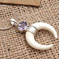 Amethyst pendant necklace, 'Pale Moonlight' - Handmade Amethyst and Sterling Silver Pendant Necklace